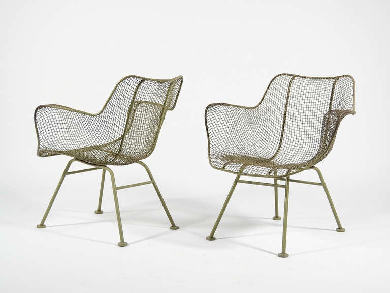 Pair Of Sage Green Woodard Sculptura Lounge Chairs At 1stdibs