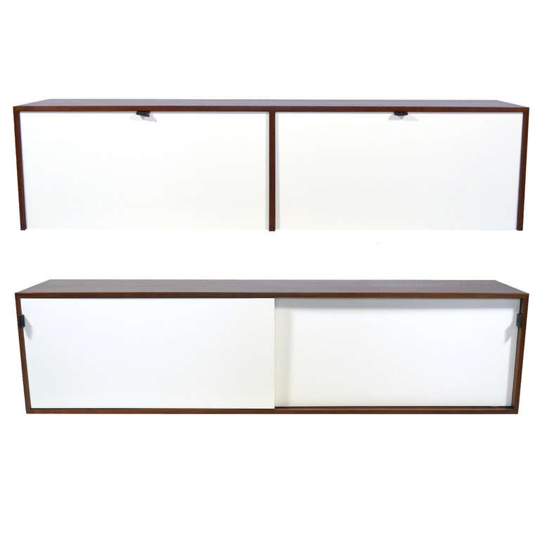 Pair of Florence Knoll Walnut Wall Mounted Credenzas or Cabinets