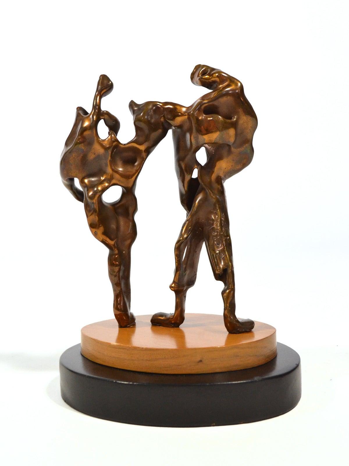 Mid-Century Modern Max Fleisher Abstract Bronze Sculpture