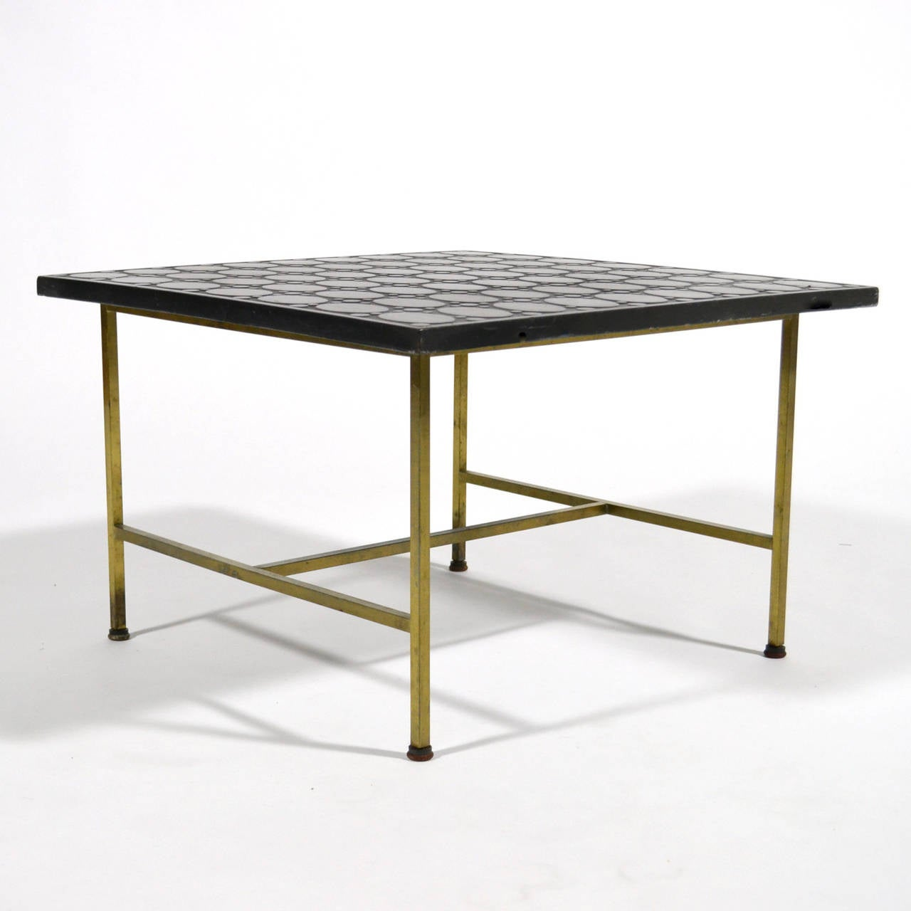 Mid-Century Modern Paul McCobb Brass Side or End Table with Uncommon Textured Top For Sale