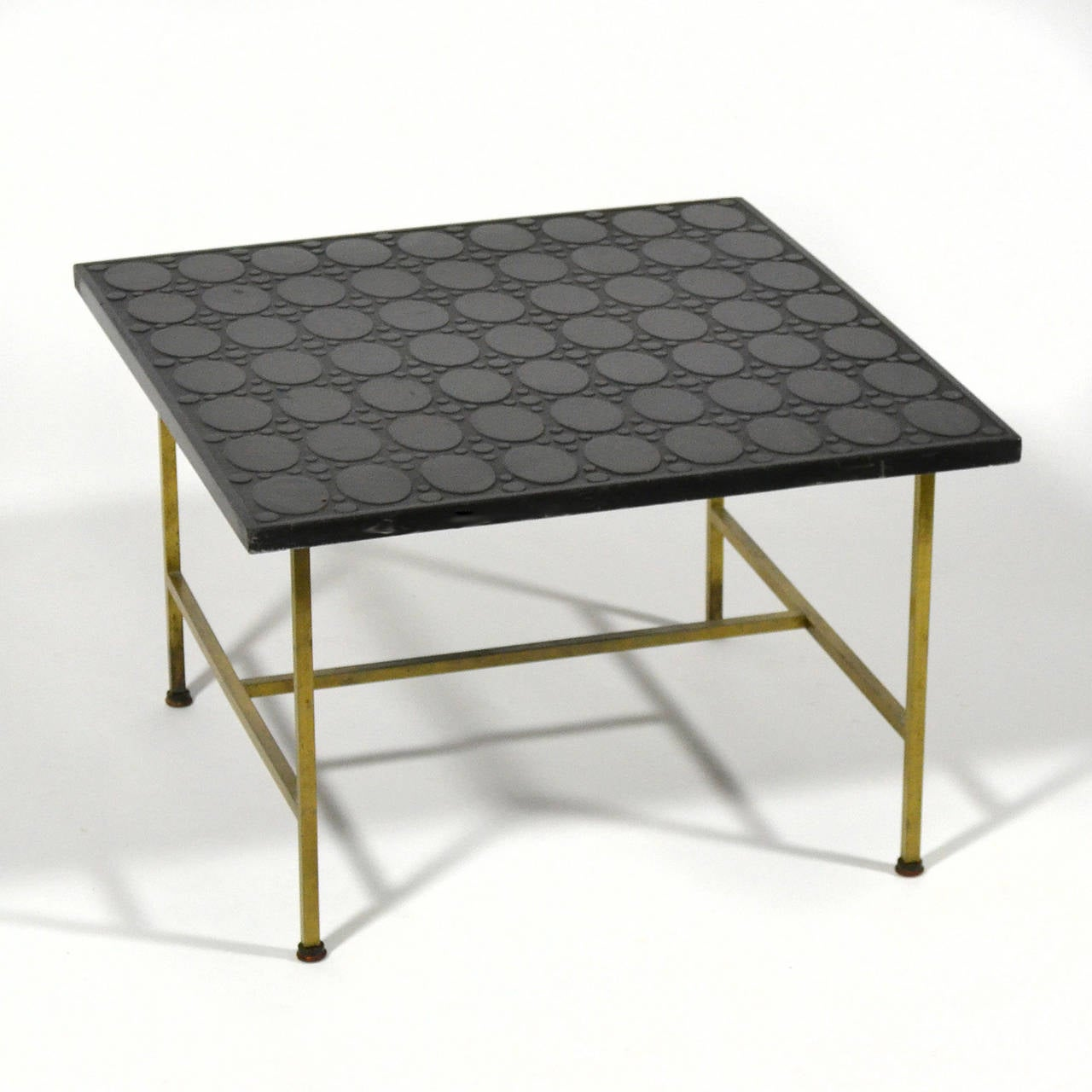 Paul McCobb Brass Side or End Table with Uncommon Textured Top For Sale 1