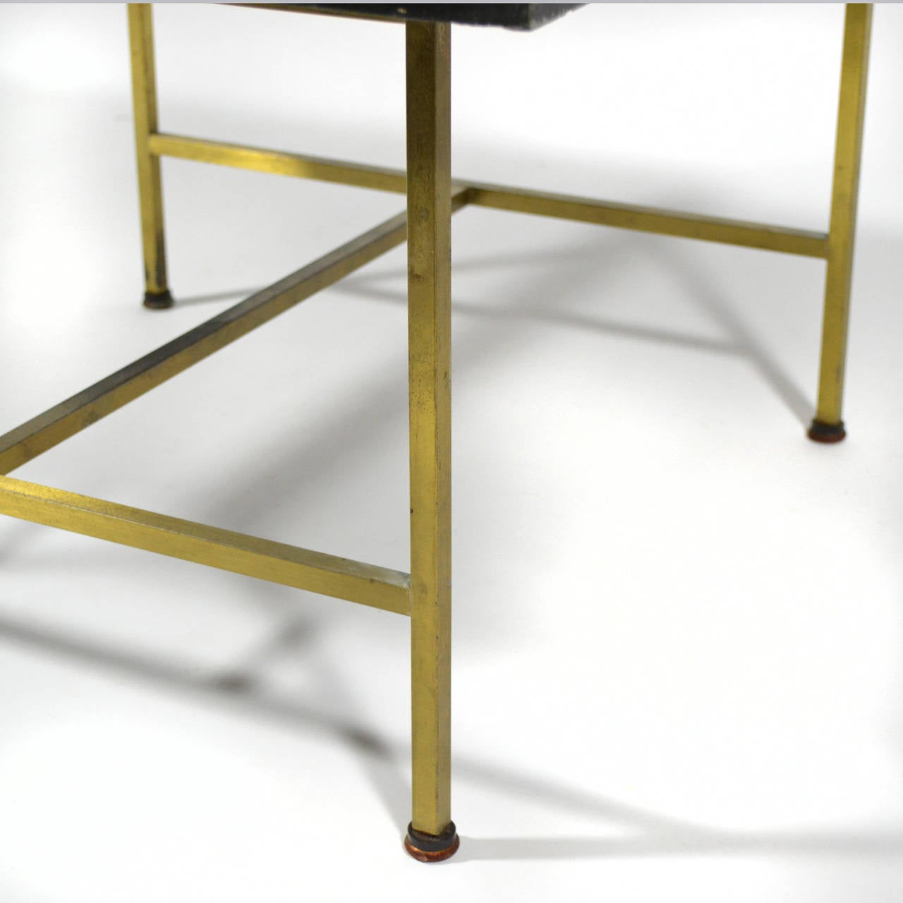 Paul McCobb Brass Side or End Table with Uncommon Textured Top For Sale 3