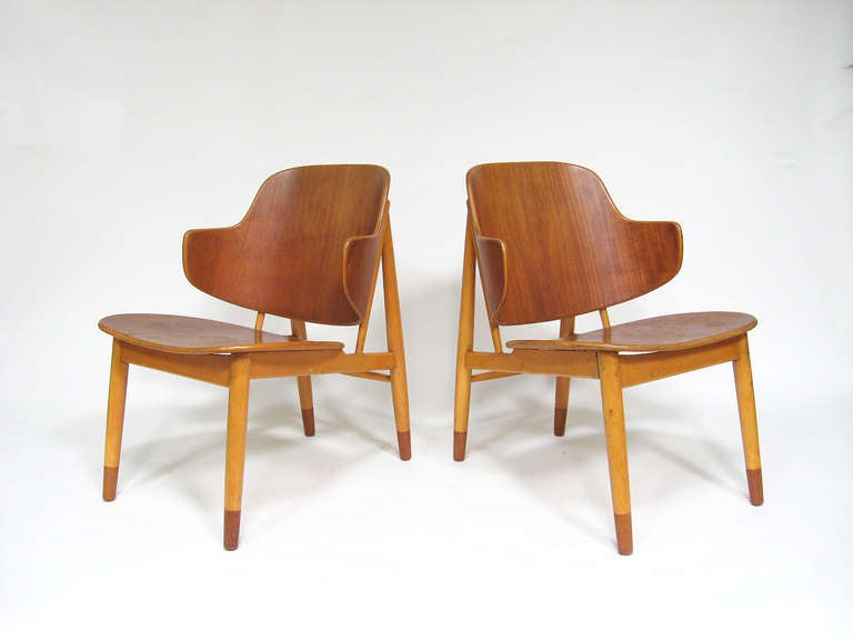 Pair of Lounge Chairs in Teak and Birch by Ib Kofod-Larsen 7