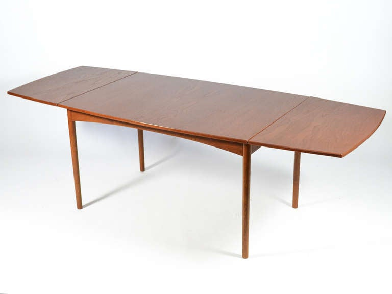Brass Teak Drop-Leaf Table by Børge Mogensen For Sale