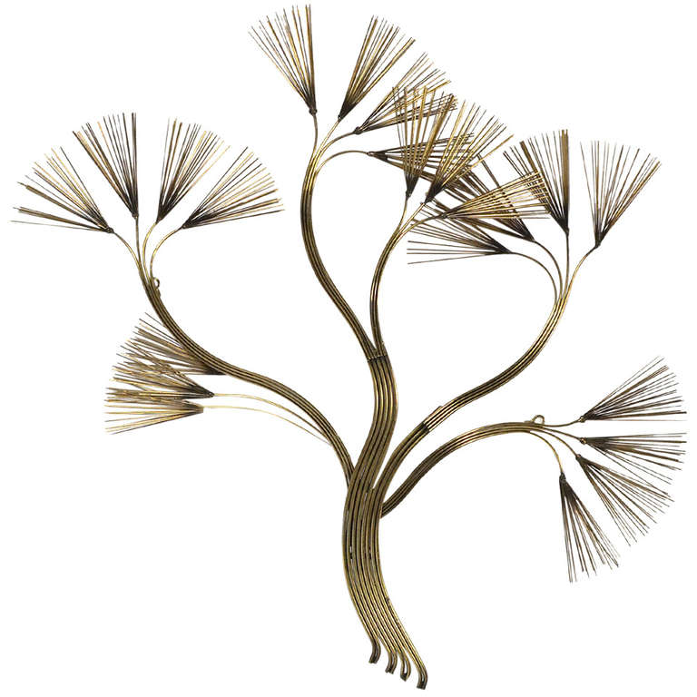 Abstract Floral Wall Sculpture in Brass by Jere