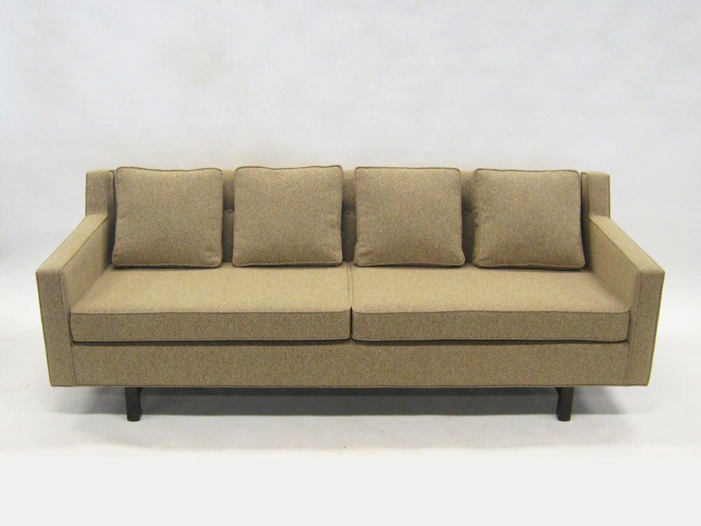Mahogany Edward Wormley Loose Cushion Sofa by Dunbar For Sale