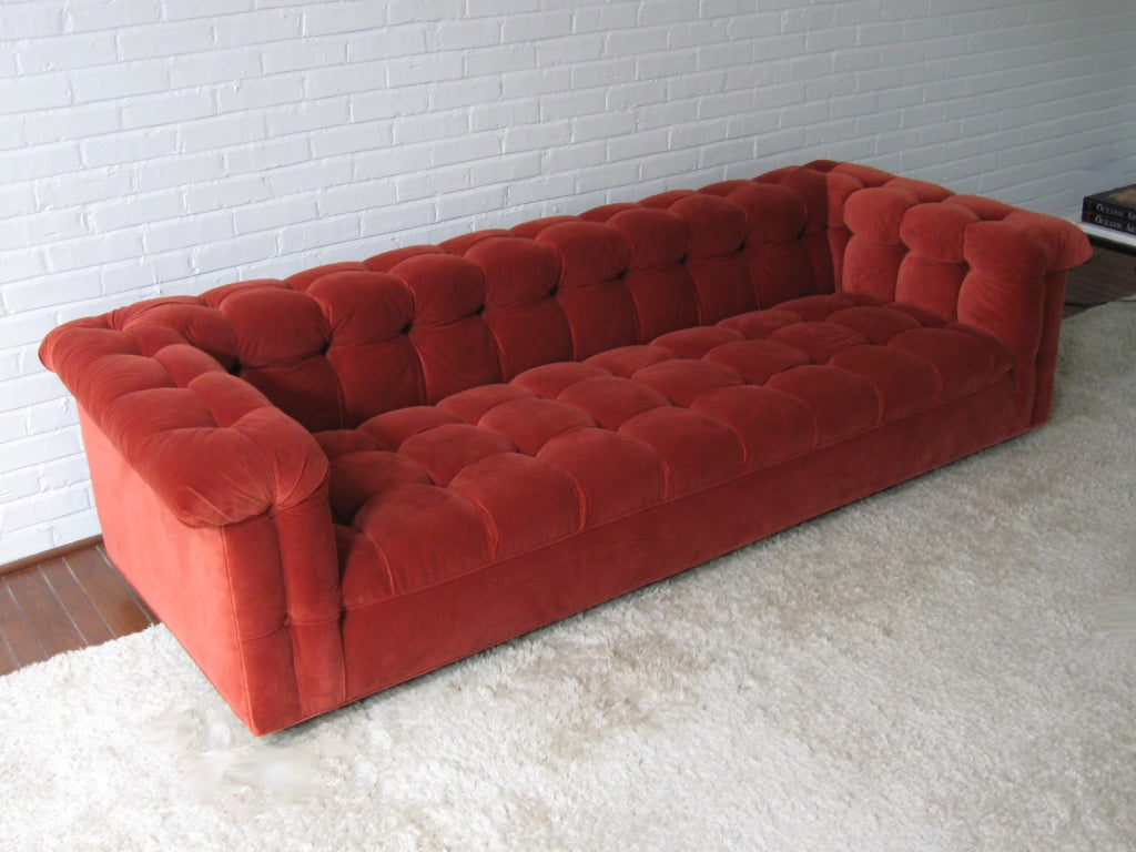 Edward Wormley model 5407 sofa by Dunbar in Jack Lenor Larsen 5