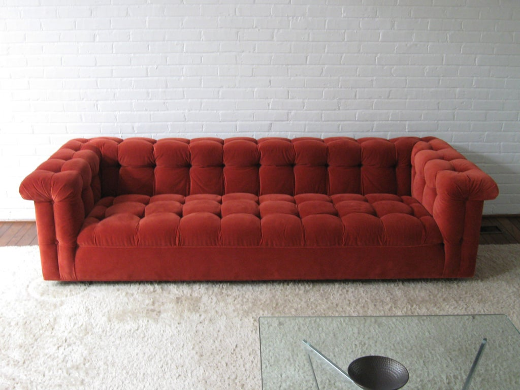 Edward Wormley model 5407 sofa by Dunbar in Jack Lenor Larsen 10