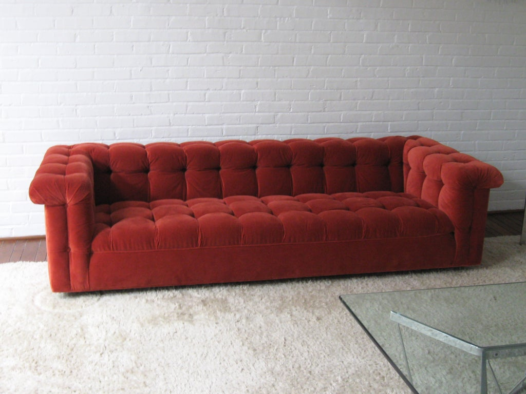 Edward Wormley model 5407 sofa by Dunbar in Jack Lenor Larsen 6