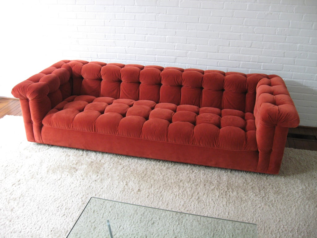 Edward Wormley model 5407 sofa by Dunbar in Jack Lenor Larsen 9