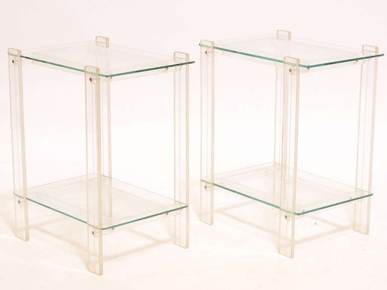 Pair Of Lucite And Glass End Tables/ Night Stands 2