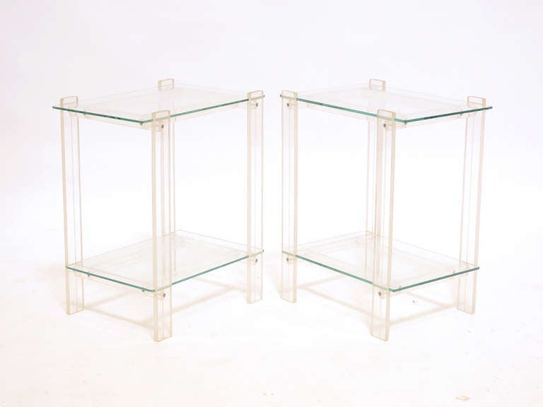 Pair Of Lucite And Glass End Tables/ Night Stands at 1stdibs