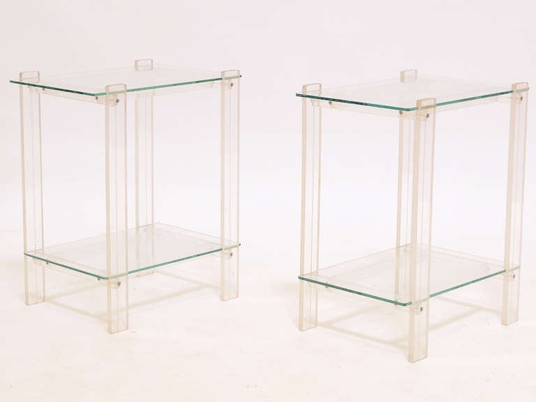 Pair Of Lucite And Glass End Tables/ Night Stands For Sale at 1stdibs