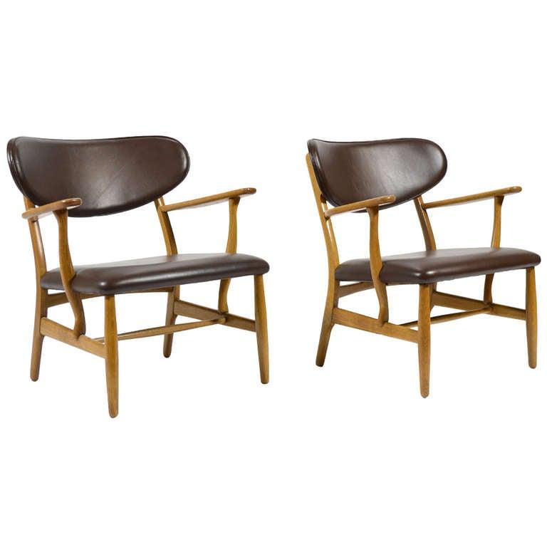 Rare Pair of Hans Wegner CH22 Easy Chairs by Carl Hansen 1