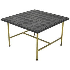 Paul McCobb Brass Side or End Table with Uncommon Textured Top