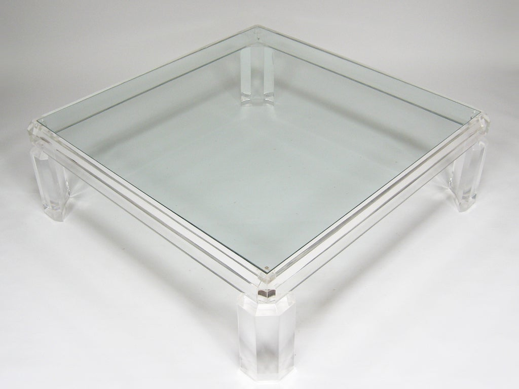 Large Lucite Coffee Table In The Manner Of Charles Hollis