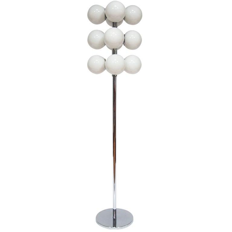 Lightolier 12 globe floor lamp at 1stdibs for Retro globe floor lamp