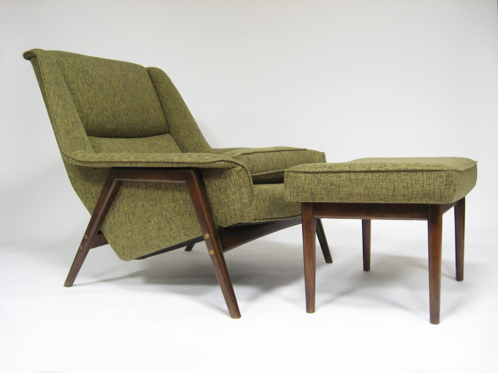 Folke Ohlsson Lounge Chair And Ottoman By Dux At 1stdibs