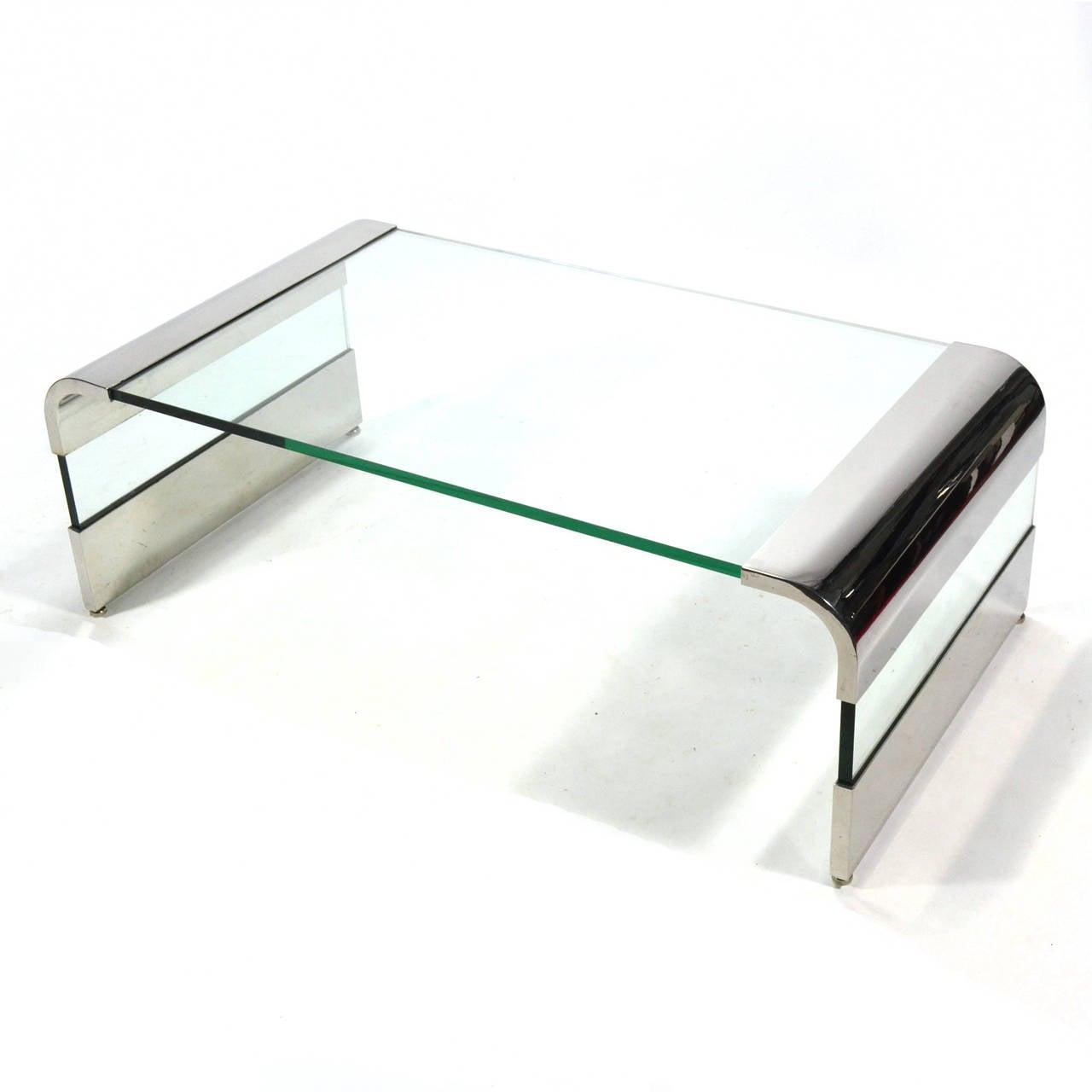 leon rosen chrome and glass waterfall coffee table by pace for  - leon rosen chrome and glass waterfall coffee table by pace