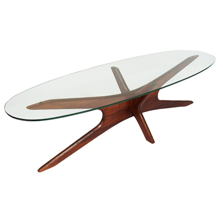 Adrian Pearsall coffee table with elliptical top by Craft Assoc. 1 - Adrian Pearsall Coffee Table With Elliptical Top By Craft Assoc
