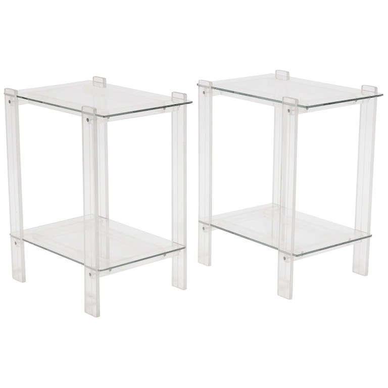 Pair Of Lucite And Glass End Tables Night Stands At 1stdibs
