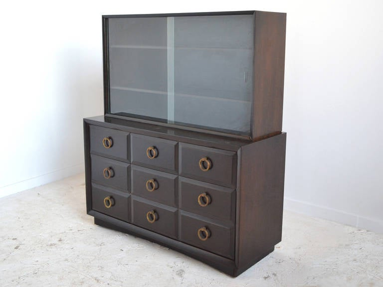 Wood Widdicomb Cabinet with Brass Pulls For Sale