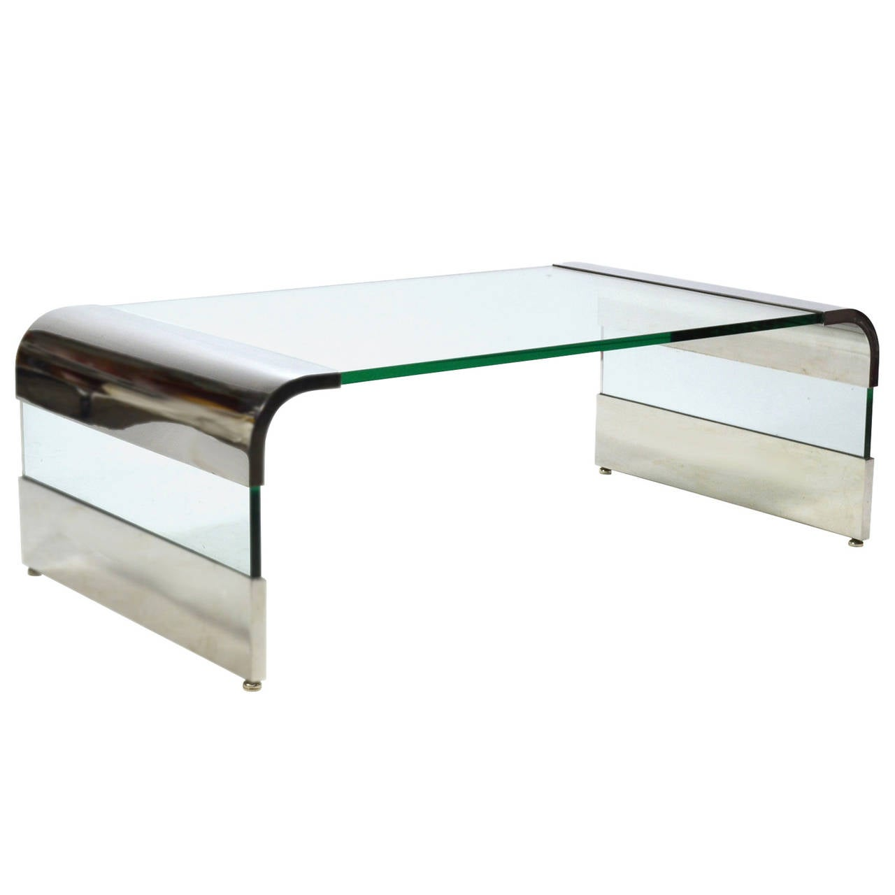 Leon Rosen Chrome and Glass Waterfall Coffee Table by Pace For