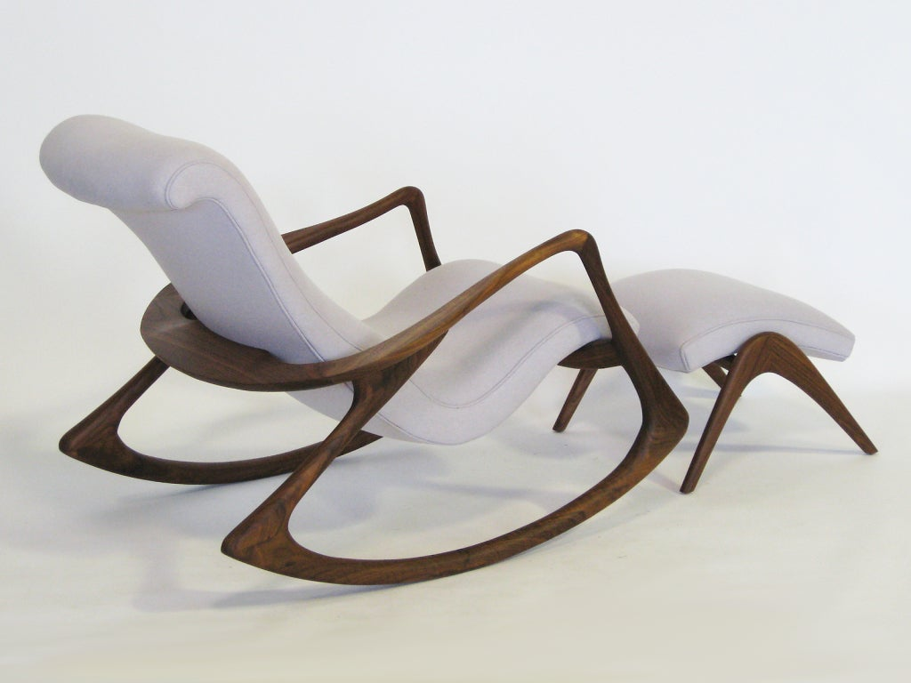 Contour rocking chair and ottoman by vladimir kagan at 1stdibs for Fauteuil bascule style eames