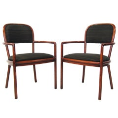 Pair of Ward Bennett Armchairs with Horsehair Upholstery