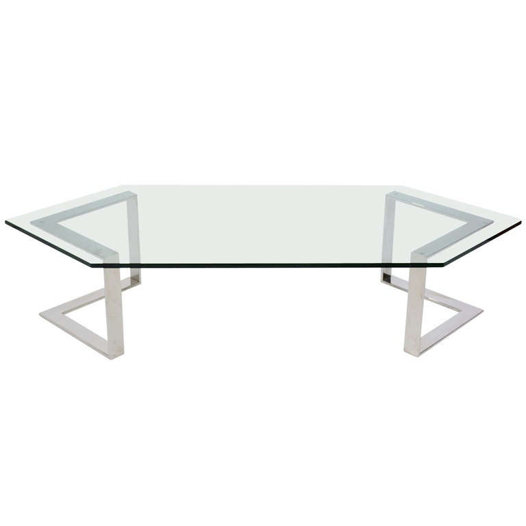 Chrome And Glass Coffee Table By Directional