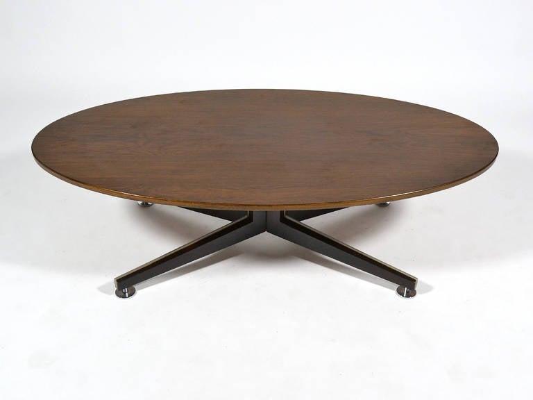 Edward Wormley Elliptical Rosewood Coffee Table by Dunbar For Sale 2