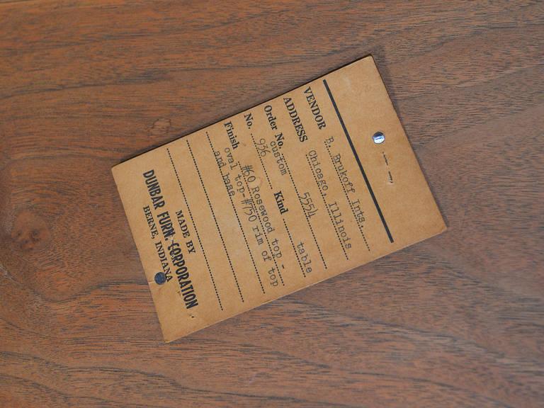 Edward Wormley Elliptical Rosewood Coffee Table by Dunbar For Sale 4