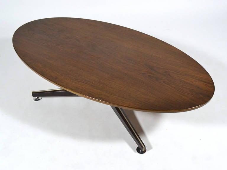 Edward Wormley Elliptical Rosewood Coffee Table by Dunbar For Sale 5
