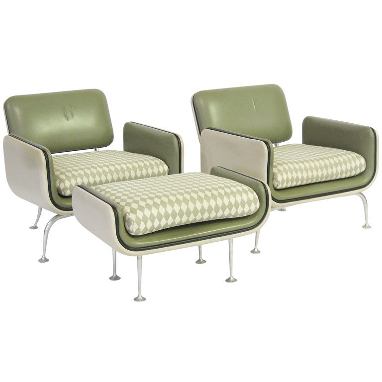Alexander Girard Lounge Chairs And Ottoman By Herman