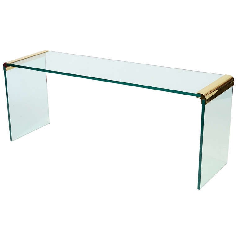 Glass Console Sofa Table By Leon Rosen For Pace