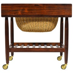 Rosewood Sewing Table or Cart by Ejvind Johansson
