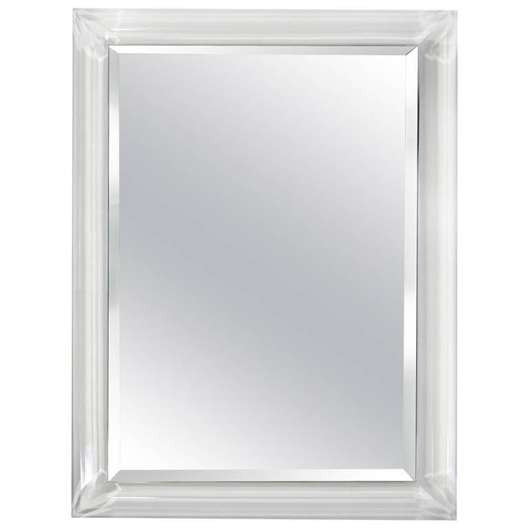 Mirror With Faceted Lucite Frame At 1stdibs
