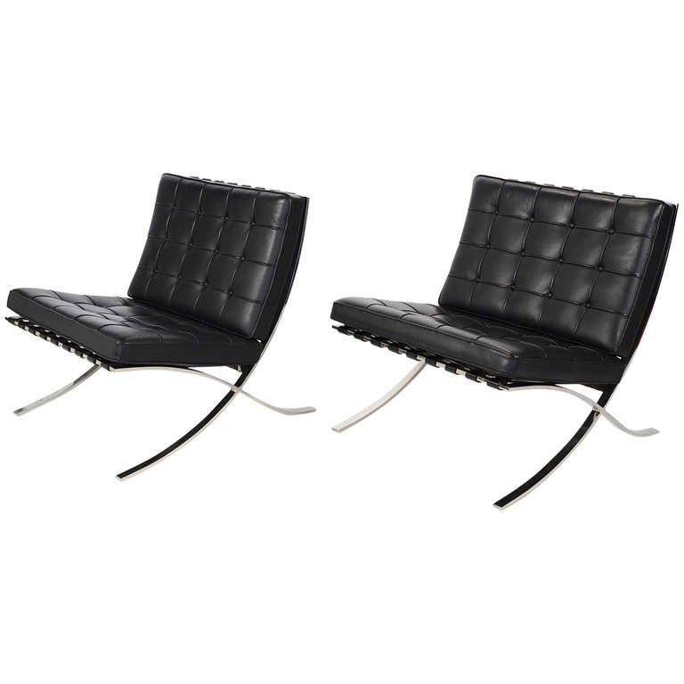 ludwig mies van der rohe barcelona chairs by knoll at 1stdibs. Black Bedroom Furniture Sets. Home Design Ideas