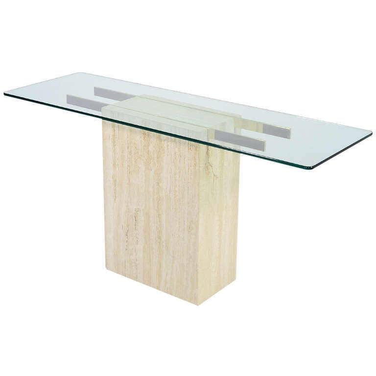 Italian Travertine and Glass Console Table by Ello at 1stdibs