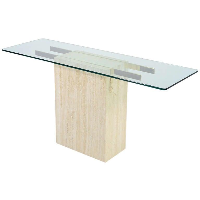 italian travertine and glass console table by ello barker furniture