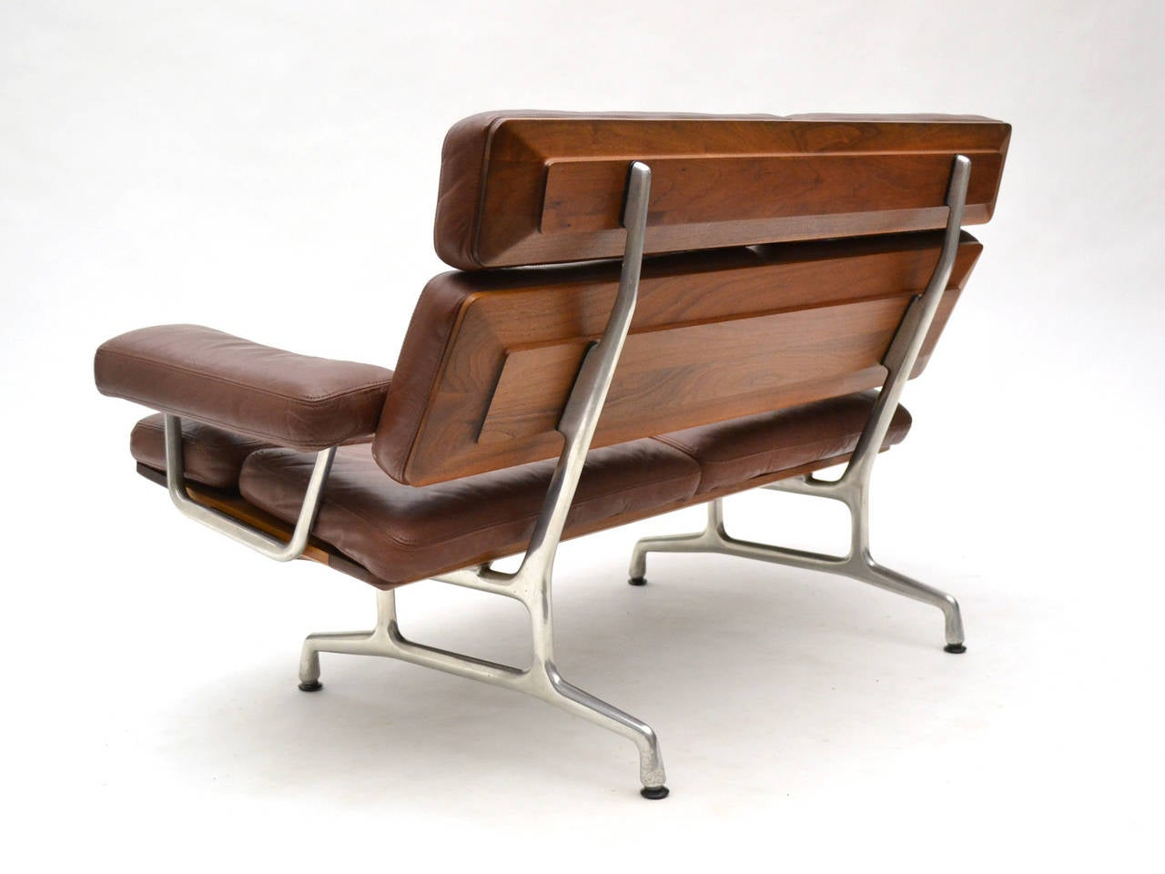 Mid Century Modern Eames Teak And Leather Sofa By Herman Miller For Sale