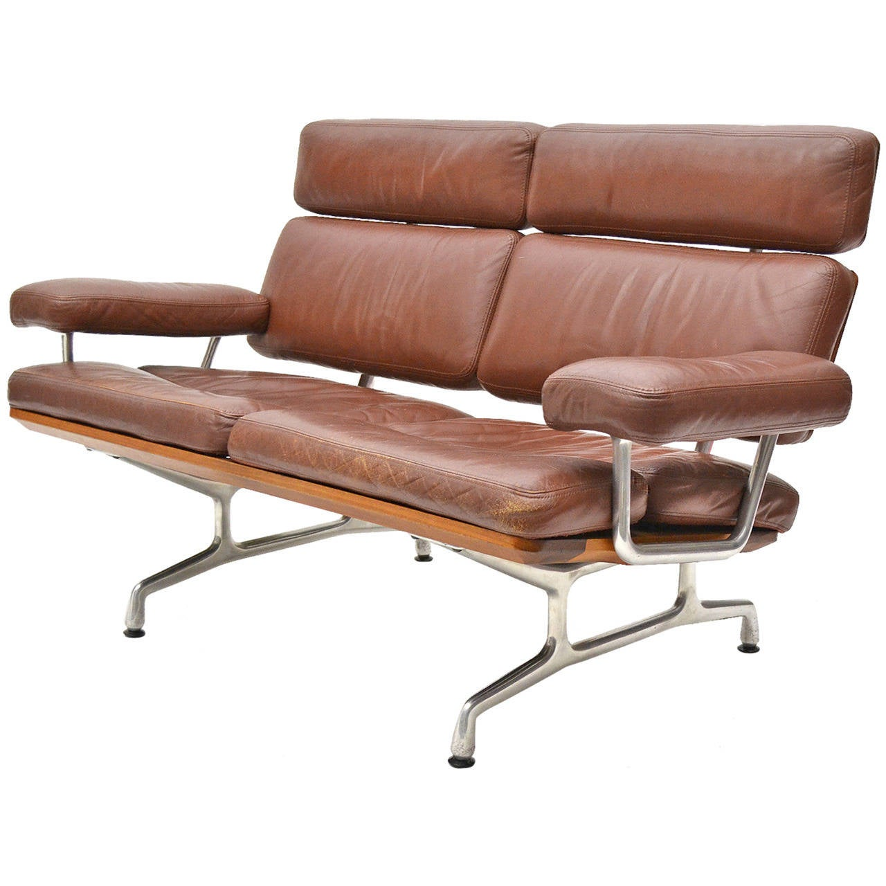 Eames Teak And Leather Sofa By Herman Miller At 1stdibs