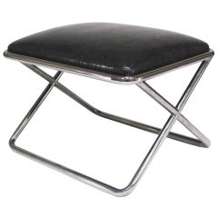 Milo Baughman chrome and leather X-base stool