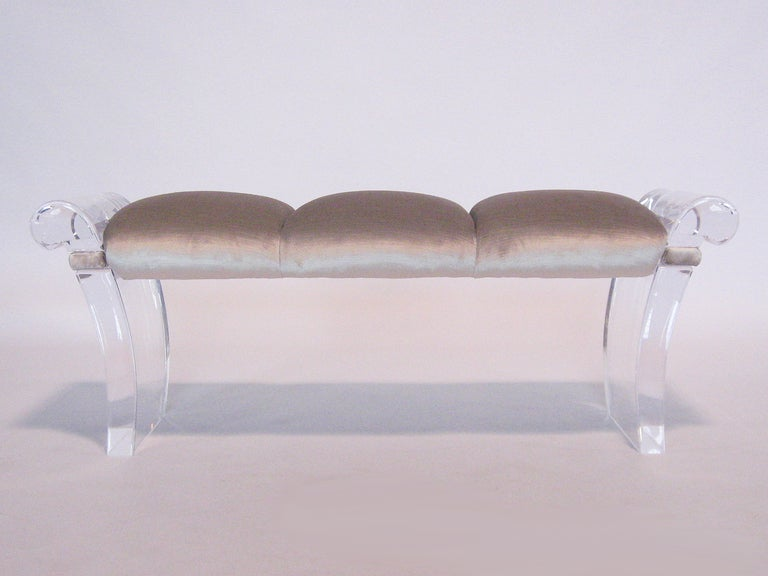 Fantastic Lucite Scroll Arm Bench By Robert Van Horn At 1stdibs