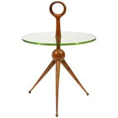 Italian Walnut and Glass Drinks Table