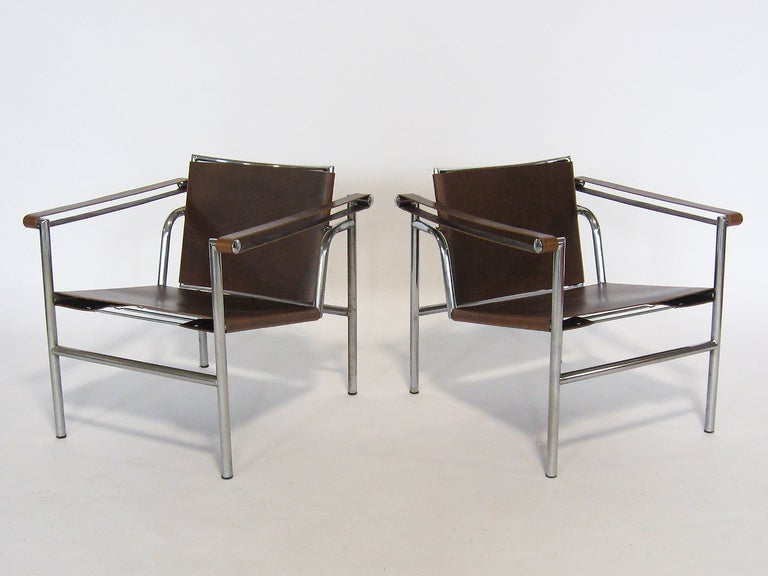 A modernist icon by the master Le Corbusier, the LC1 was designed in 1928 but is just as fresh and relevant today. This pair, produced in the 1960s has a wonderful patina from age. The rich brown leather is new, but was selected for its more natural