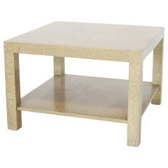 Baker style Parsons end table with eggshell finish