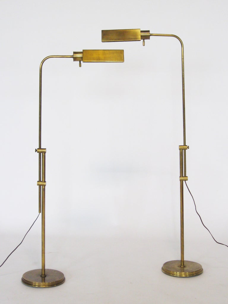 Pair Of Frederick Cooper Adjustable Floor Lamps At 1stdibs
