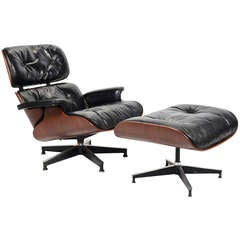 Rosweood and down Eames lounge chair and ottoman