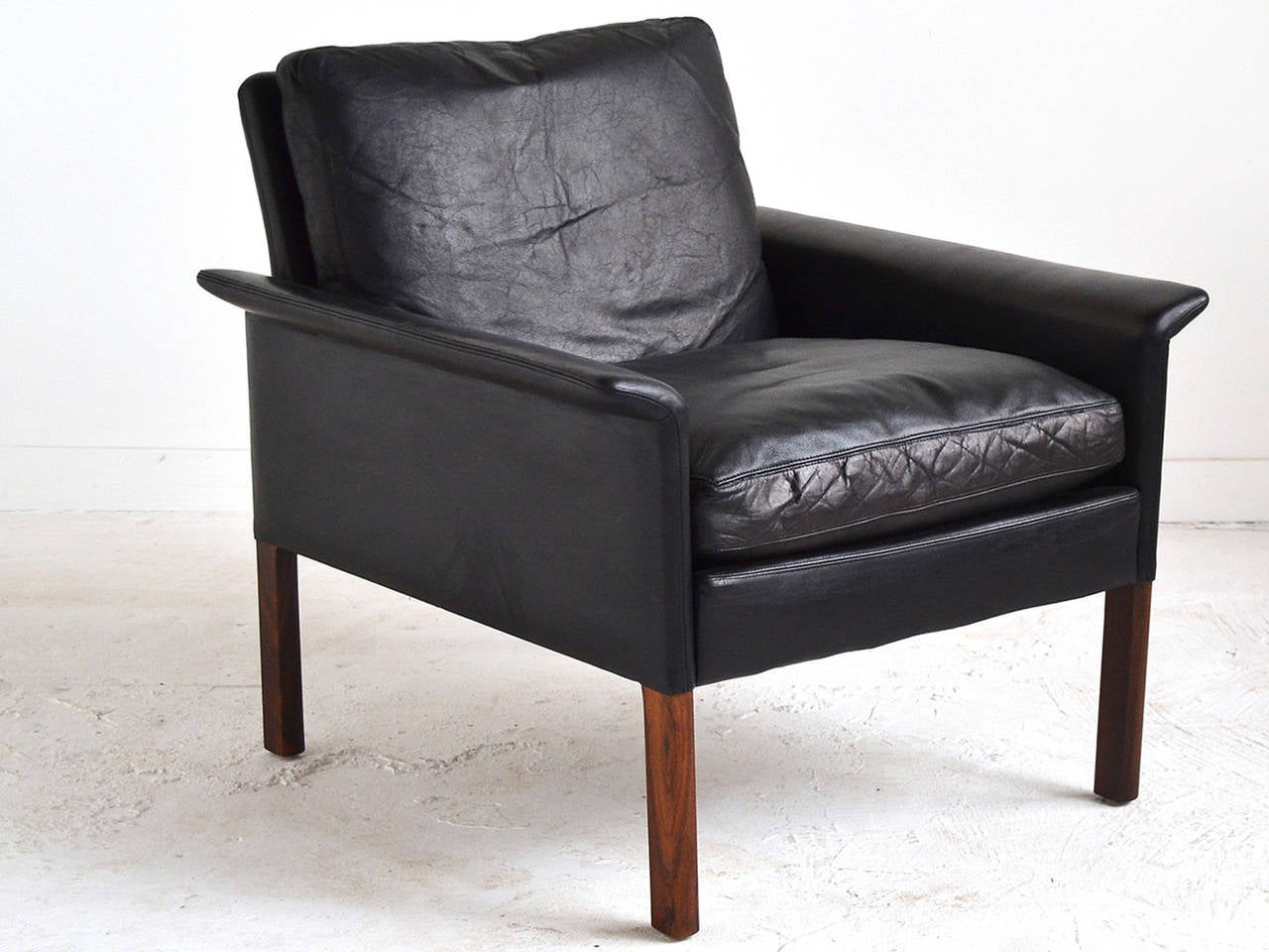 Leather And Rosewood Lounge Chair By Hans Olsen At 1stdibs